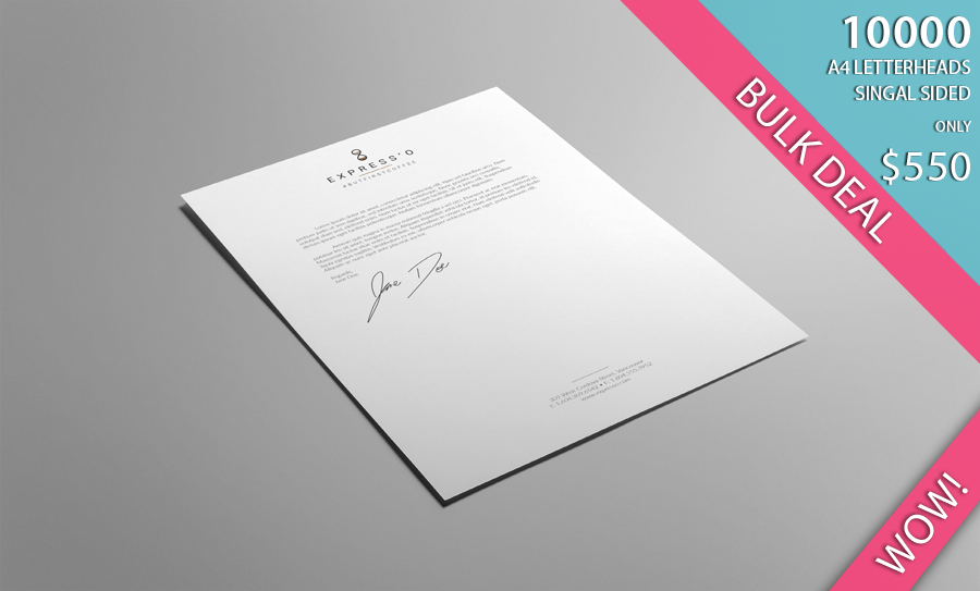 A4 Letterheads in CMYK colours